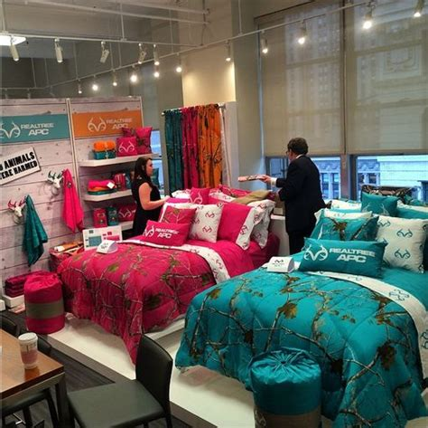 teal camo bedding coming straight to y all from home fashions market week in new york city realtree