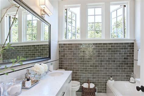 modern classic bathroom gray subway tile bathroom contemporary with bathtub