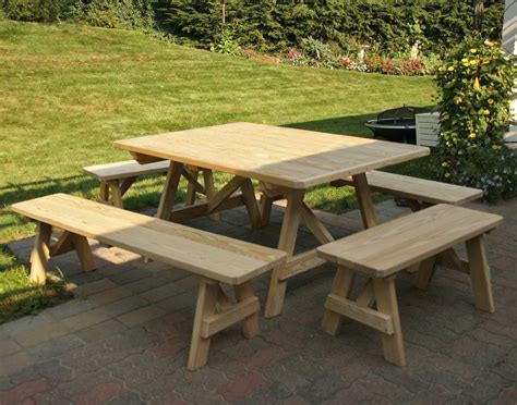 picnic table benches treated pine wide picnic table w traditional benches