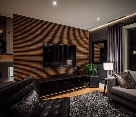 living room grating shaped wood feature wall living