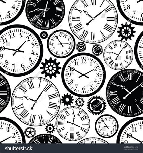 html pattern for time clocks seamless pattern black white texture stock vector