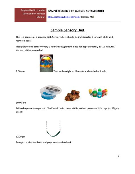 sensory diet template sensory diets at school and home