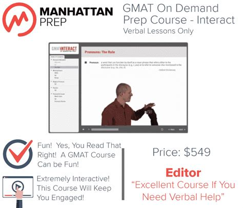 verbal section gmat manhattan gmat interact prep course verbal only test