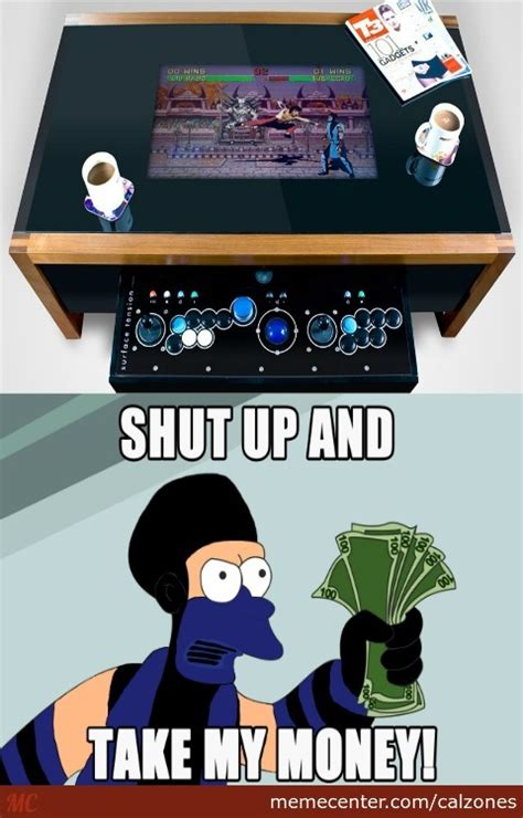 Arcade Meme - coffee table with integrated arcade by calzones meme center