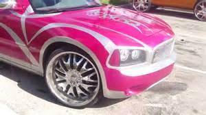 pink dodge charger on dem 24 quot rims hemi