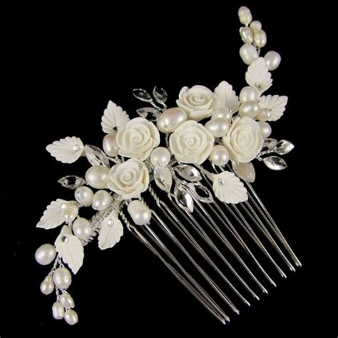 Hair Comb Flowers And Pearls Lh002 lucia flower pearl wedding hair comb