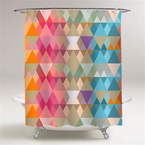 do shower curtains come in different lengths abstract triangles of different sizes bathroom shower