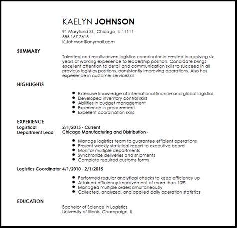 Logistics Coordinator Resume by Free Creative Logistics Coordinator Resume Template