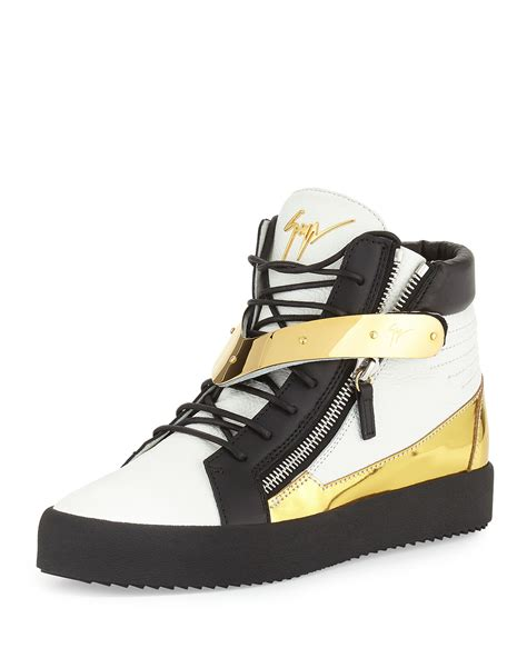 giuseppe zanotti mens sneakers giuseppe zanotti mens tricolor leather high top sneaker in