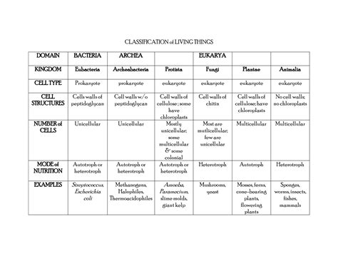 Kingdom Classification Worksheet by Classification Of Living Things Chart Pictures To Pin On