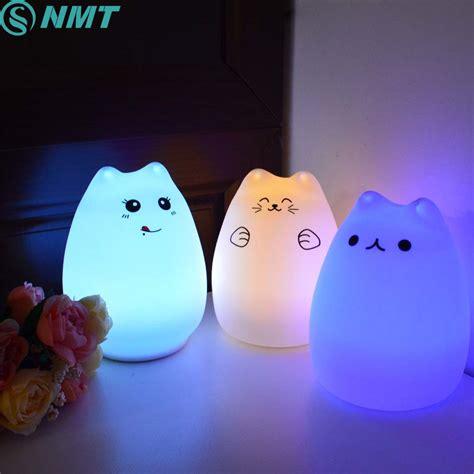 usb cat night light silicon animal led night light children touch sensor rgb