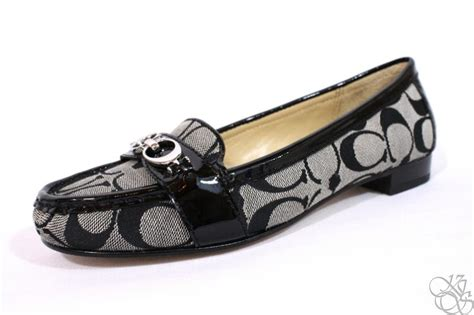 white coach loafers coach eloise signature c logo black white patent womens