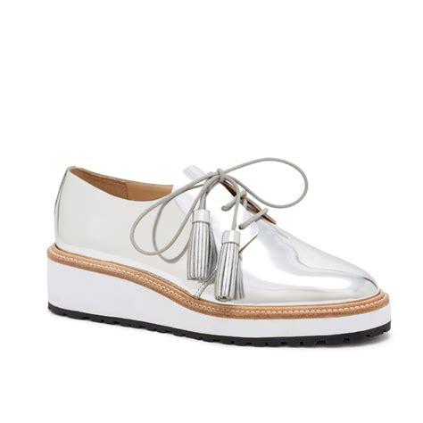 wedge oxford shoes loeffler randall callie wedge oxford in metallic lyst