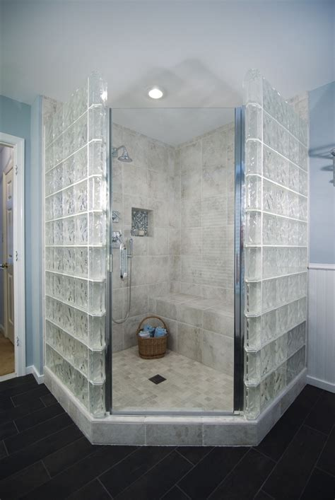 Glass Blocks Surround This Shower In Semi Privacy Glass Block Showers Small Bathrooms
