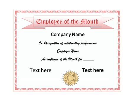 employee of the month certificate template with picture employee of the month certificate top form templates