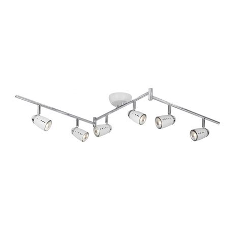 6 Spot Ceiling Light White Kitchen Spotlight Bar Adjustable With 6 Moveable Spotlights