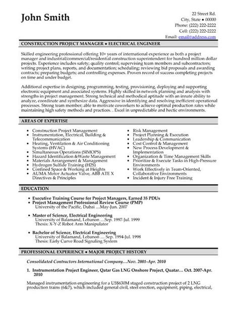 Resume Exles For Construction Administrator Click Here To This Construction Project Manager Resume Template Http Www