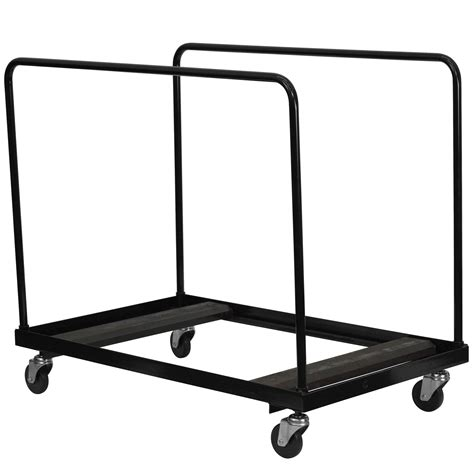 folding table dolly flash furniture black steel folding table dolly for