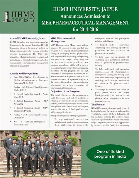 Biotech Management Mba by Iihmr A Premier Healthcare India