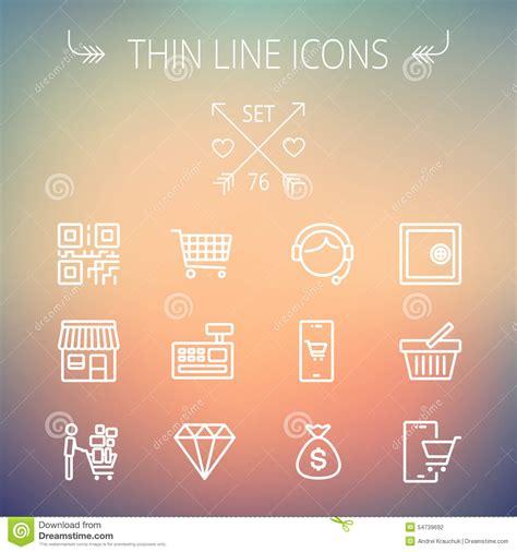 mobile press register circulation desk business line icon set vector illustration