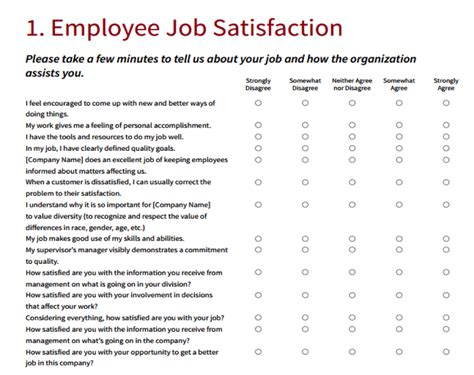 Employee Survey - employee satisfaction survey template word pacq co