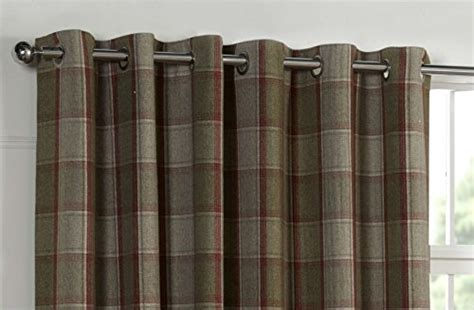 red tweed curtains wool touch heavy lined tartan tweed plaid curtains red