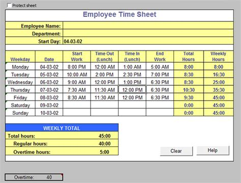 digital punch card excel template excel timesheet time tracking sheets
