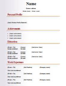 Template Of Cv by Cv Template 187 Professional Cover Letter