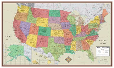 united states of america usa large wall map poster contemporary elite united states wall map poster