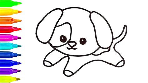 baby dog drawing  kids learn coloring art painting