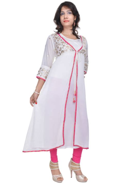 jacket pattern kurta for ladies buy white gota patti jacket style kurta online