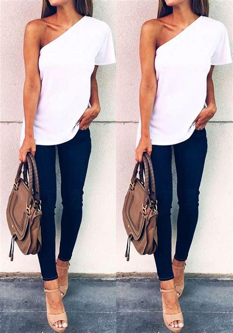 Plain Shoulder Shirt white plain asymmetric shoulder sleeve fashion t