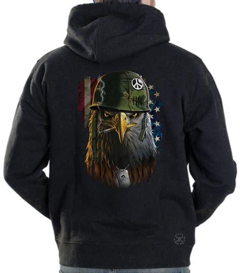 american warrior eagle hoodie sweat shirt back alley wear