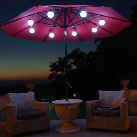Patio Umbrella String Lights 8 Globe Brightable Whtable Led Solar Umb Lightables Dfohome