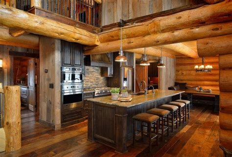 rustic kitchen islands with seating log cabin homes exterior interior furniture and decor ideas