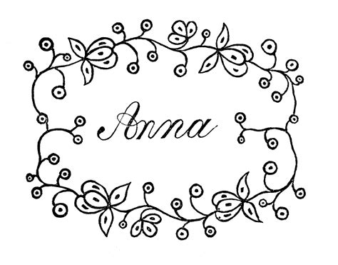 coloring pages of the name anna anna name drawing