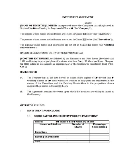 13 Sle Business Investment Agreements Sle Templates Investment Loan Agreement Template