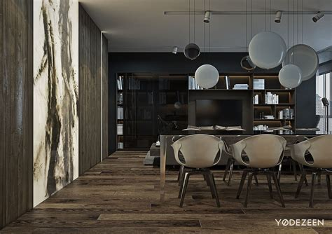 gray interior a dark and calming bachelor bad with natural wood and concrete