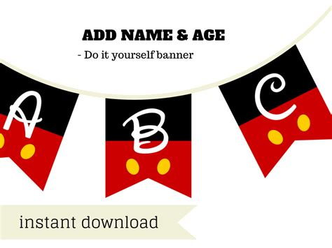 Banner Mickey Mouse Bunting Flag Mickey Mouse mickey mouse banner magical printable