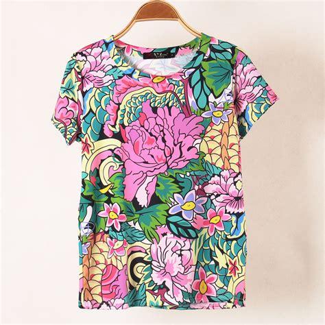 pattern flower shirt 2014 summer women t shirt fashion personality flower print