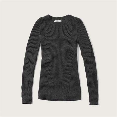 Sweater Abercrombie Abercrombie Fitch Slim Ribbed Crew Sweater In Black Lyst