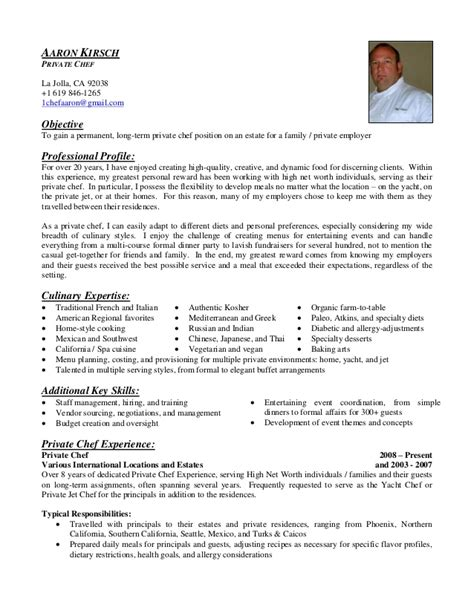 Objective For Chef Resume Sles Aaron Kirsch Chef Resume