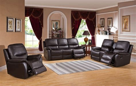 Pisa Top Grain Black Leather Reclining Sofa Set Usa Black Reclining Sofa Set