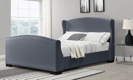 Bed Frame And Mattress Deals Uk Linen Fabric Bed Frame Groupon Goods