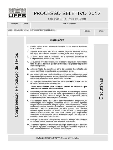 Prova 2ª Fase UFPR 2016.2017 - Compreensão e Produção de