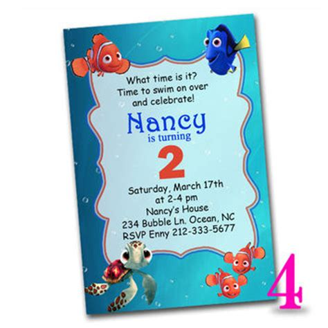 shop finding nemo invitations on wanelo