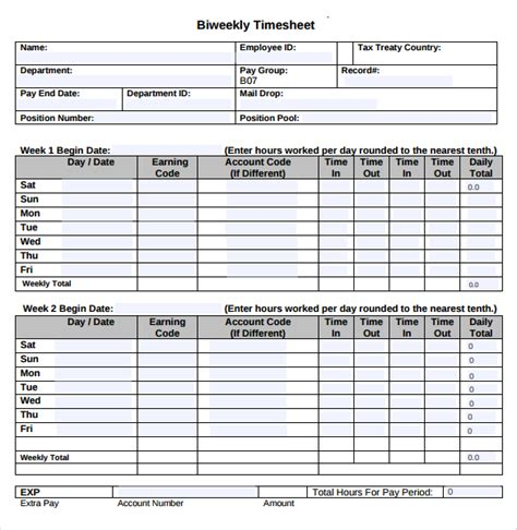 22 Employee Timesheet Templates Free Sle Exle Format Download Free Premium Templates Employee Bi Weekly Timesheet Template