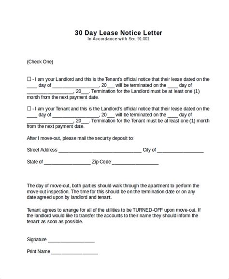 11 Sle 30 Day Notice Letters Sle Templates 30 Day Notice Template To Tenant