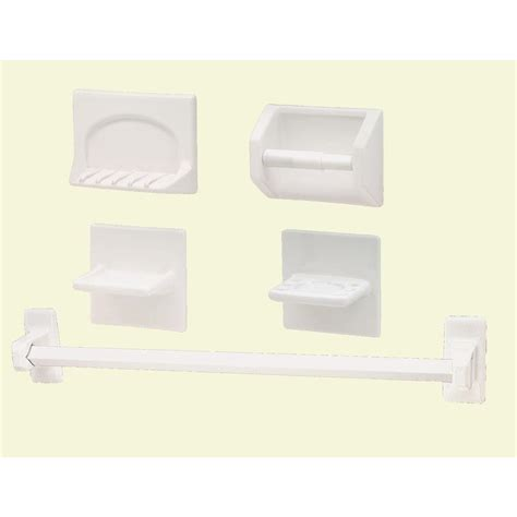 lenape white porcelain bath accessory set 5 1905 01 the home depot