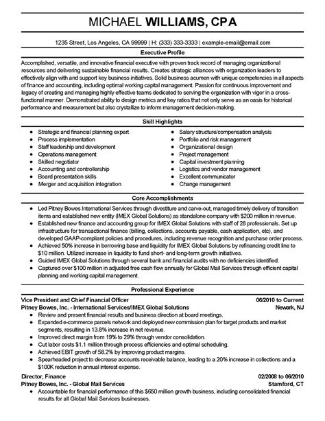 Professional Financial Executive Templates To Showcase Your Talent Myperfectresume Proven Resume Templates